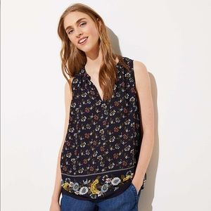 NWT LOFT XS Mixed Floral Shirred Split Neck Shell